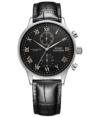 Armbanduhr römische zahlen  BUREI Schwarz Herren Uhren Chronograph mit Echtleder Armbanduhr ...