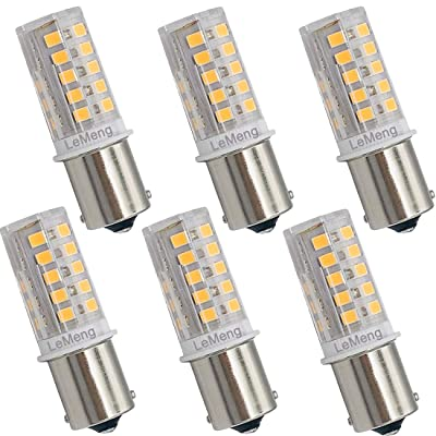 LeMeng 12V BA15S LED Bulb S8 SC 3W 300Lm 2700K Warm White, DC Bayonet Single Contact Base 1156 1141, AC10-18Volt & DC10-30 Volts, Outdoor Landscape RV Camper Marine Boat Trailer Lighting-6 Pack
