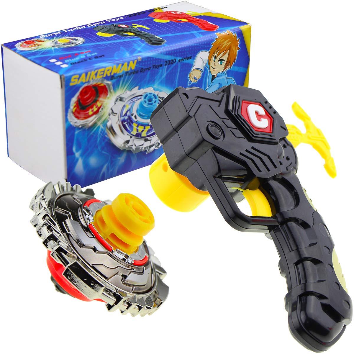 SaikerMan Metal Burst Battling Turbo Top and Launcher Toy for Age 8+ - Black Set by SaikerMan