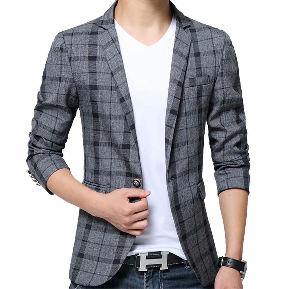 Men's Blazer Jacket Plaid Slim Fit Sport Coat One Button Notch Lapel Casual Business Coat Single Breasted Outwear
