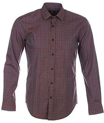 2883b7172 BOSS Hugo Black Ronni Check Slim Fit Shirt L Dark Red: Amazon.co.uk:  Clothing