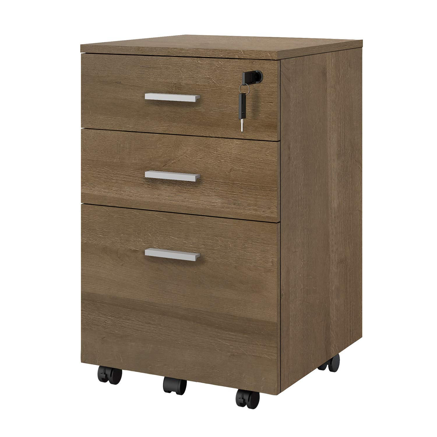 DEVAISE 3 Drawer Mobile File Cabinet with Lock, Wood Filing Cabinet, Fully Assembled Except Casters and Handles, Gray Oak by DEVAISE