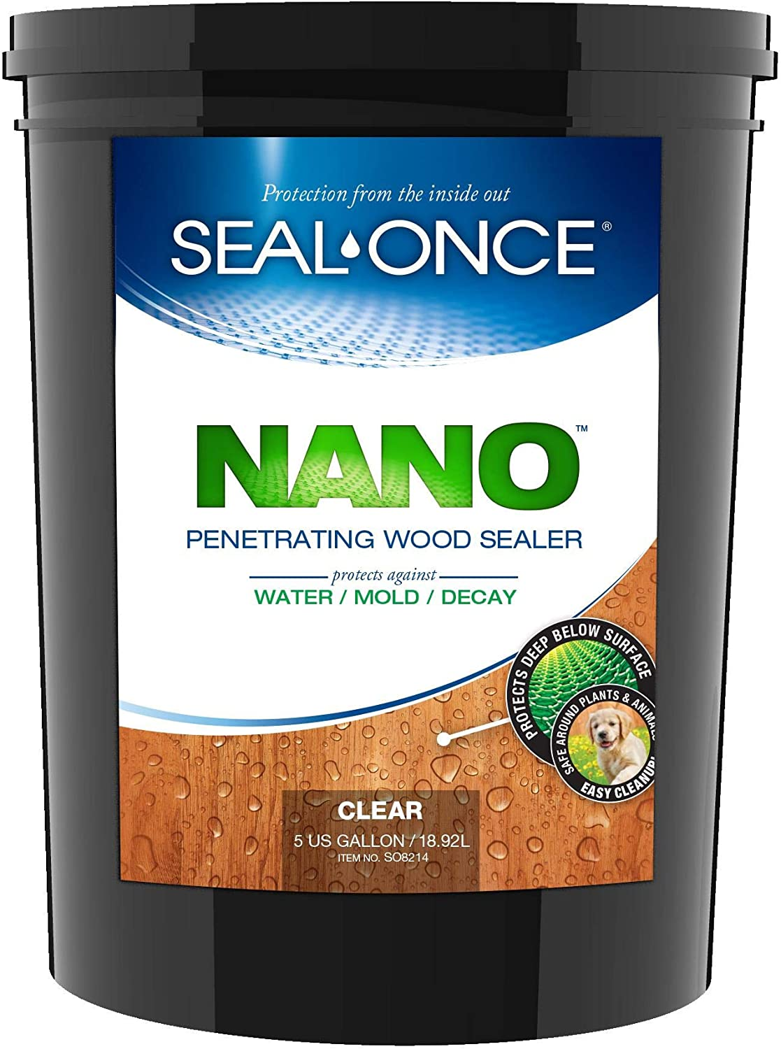 SEAL-ONCE NANO Penetrating Wood Sealer & Stain - 5 Gallon. Water-based, Low-VOC waterproofer for fences, siding, beams, outdoor furniture & log homes.