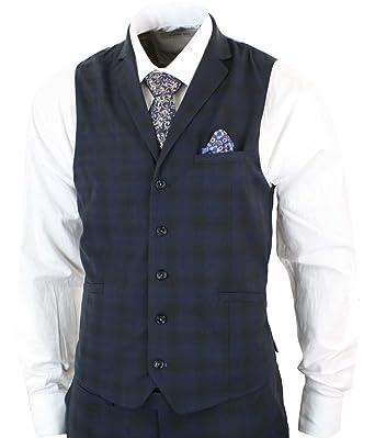 Style Chic Homme Pièces Bleu Carreaux Costume 3 Cintrée Coupe 35uTJcF1lK