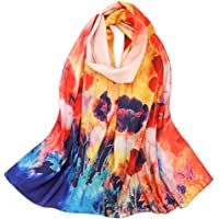 Mulberry Silk Scarf Oblong Scarves Lightweight Floral Scarf Sunscreen Shawls