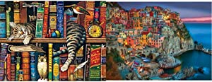 Buffalo Games - Charles Wysocki - Frederick The Literate - 750 Piece Jigsaw Puzzle & - Cinque Terre - 1000 Piece Jigsaw Puzzle