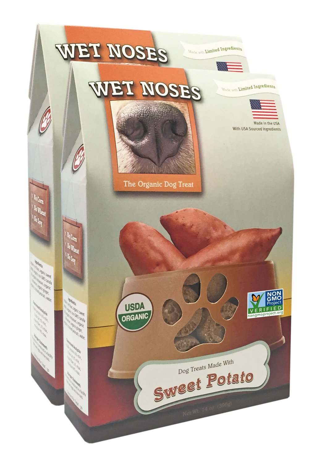 2-Pack Wet Noses All Natural Dog Treats, Made in USA, 100% USDA Certified Organic, Non-GMO Project Verified, 14 Oz Box, Sweet Potato Flavor, 2-Pack