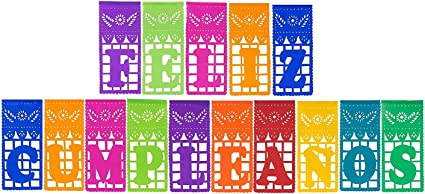 Paper Full of Wishes I Mexican Plastic Papel Picado Banner I Feliz Cumpleaños I Multi-Color Large Letrero Banner for Mexican Birthday Celebrations
