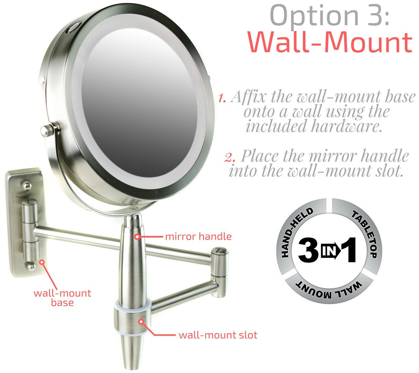 Wall mirror mounts image collections home wall decoration ideas amazon ovente make up mirror 3 in 1 tabletop wall mount amazon ovente make up mirror amipublicfo Images