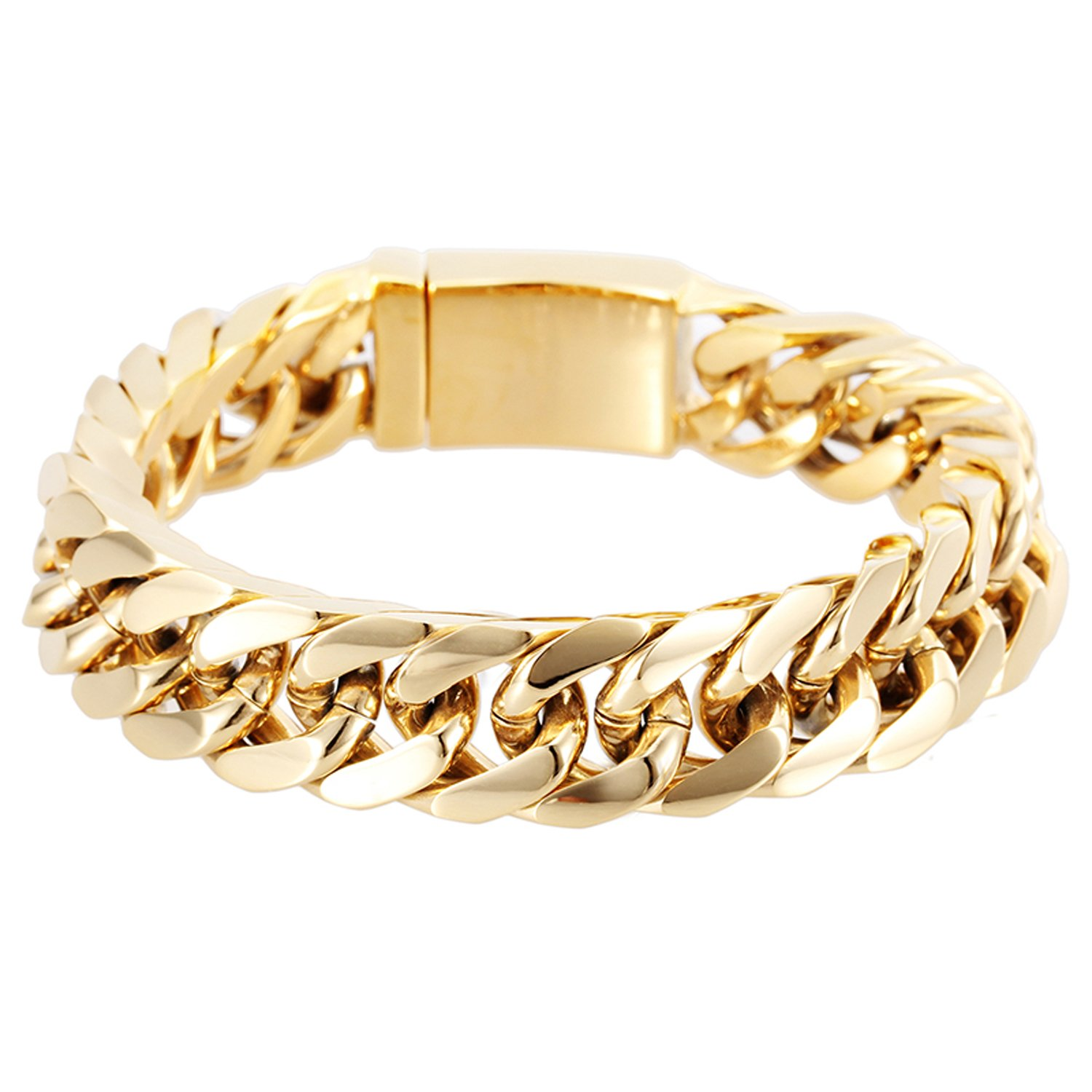 18K Gold Layered Chain Bracelet for Men 14MM Premium Fashion Jewelry, Resists Tarnishing, US Made 8Inches
