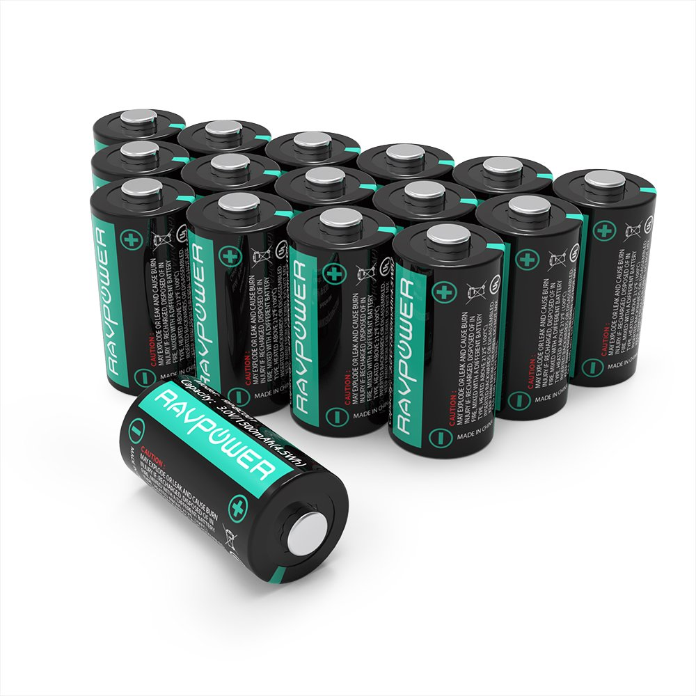 CR123A Lithium Batteries RAVPower Non-Rechargeable 3V Lithium Battery, 16-Pack, 1500mAh Each, 10 Years of Shelf Life for Arlo Cameras, Polaroid, Flashlight, Microphones [CAN NOT BE RECHARGED]
