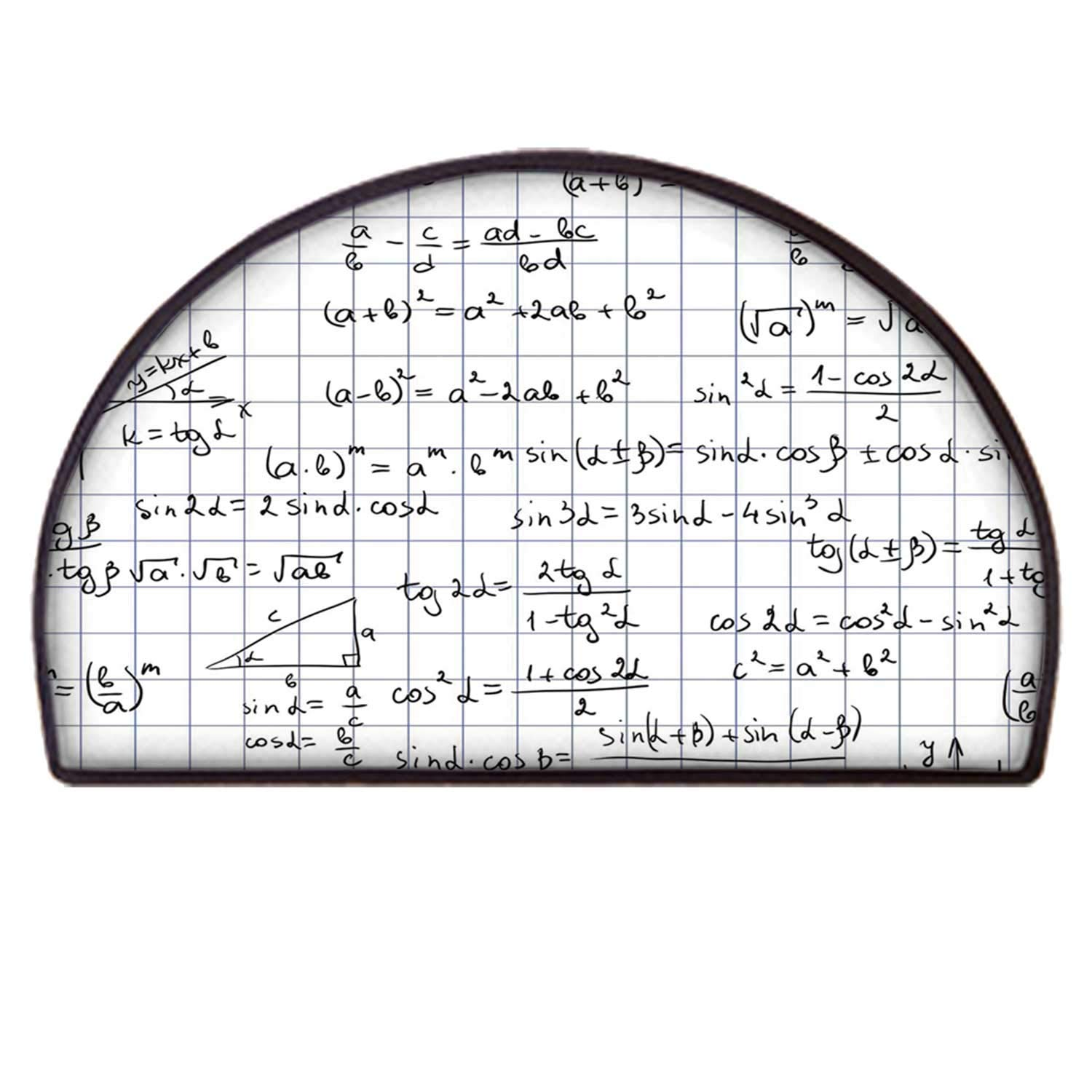 C COABALLA Mathematics Classroom Decor Classical Semicircle Mat,Squared Notebook Page Lesson Notes Student Print for Home Office,85 x 170cm / 33.46 x 66.92 inch by C COABALLA