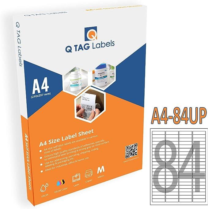 QTAG A4 Self Adhesive Precut White Paper Label / 84 Label 45 X 11  Per Sheet   84UPA4 Labels   Stickers