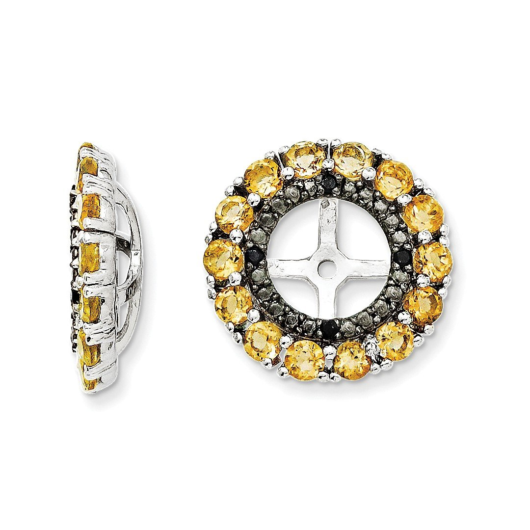 ICE CARATS 925 Sterling Silver Yellow Citrine Black Sapphire Earrings Jacket Birthstone November Fine Jewelry Gift Set For Women Heart