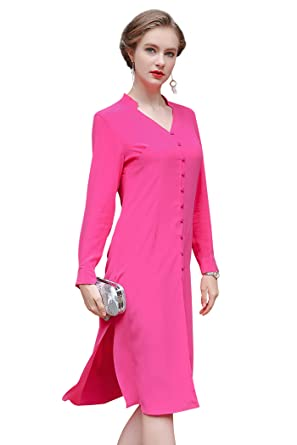 7f5c9d5f Image Unavailable. Image not available for. Color: VOA Women's Pink V-Neck Long  Sleeve Silk Shirt Top Blouse B6552