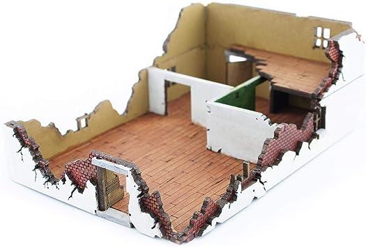 War World Gaming War at World - Casa 1 destruida en DM Escala 15mm - WW1 WW2 Wargame Escenografía Modelismo Diorama Maqueta Juego de Mesa Wargaming Edificio Ruinas Miniaturas: Amazon.es: Juguetes y juegos