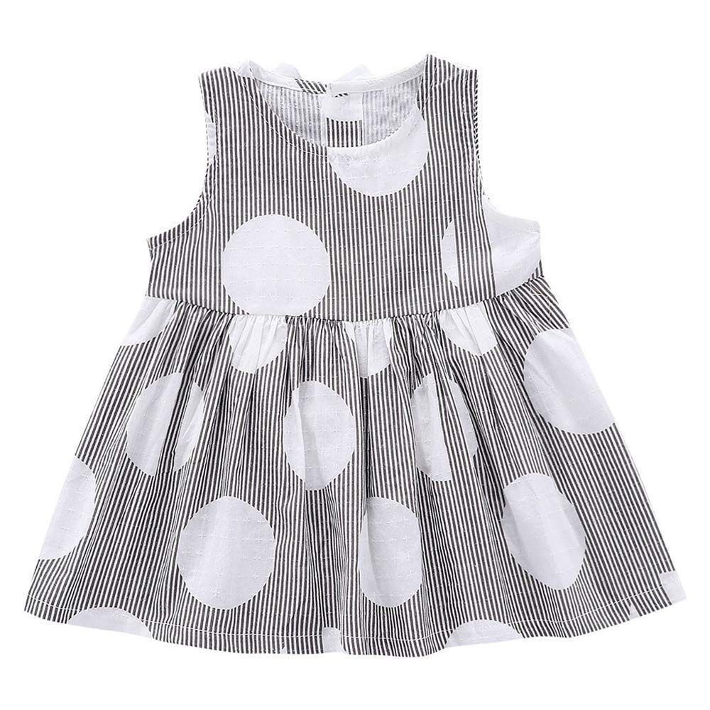 FCQNY Kid Baby Girl Sleeveless Striped Dot Printed Party Princess Dress Clothes (Color : Black, Size : 100)