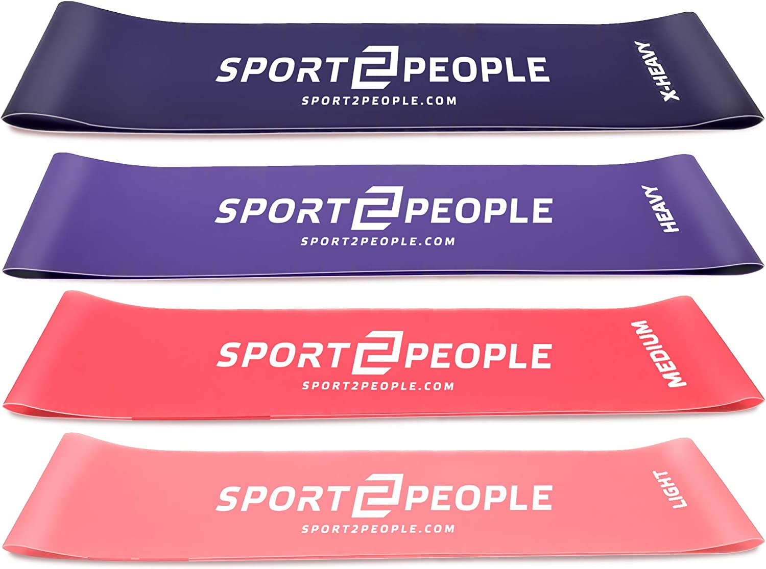 sport2people Loop Resistance Bands mit Free E-Books Fitnessband Set, 4pack