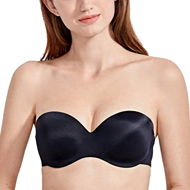 DELIMIRA Women's Lightly Lined Underwire Molded Silicon Convertible Strapless Bra Black 34AA