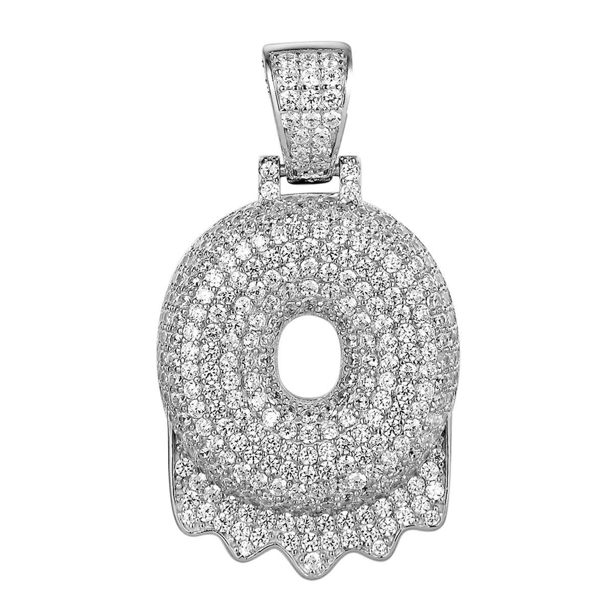 2.00 Ct Round Cut Simulayed Diamond Drip BubbleO Letter Pendant Solid 10K White Real Gold