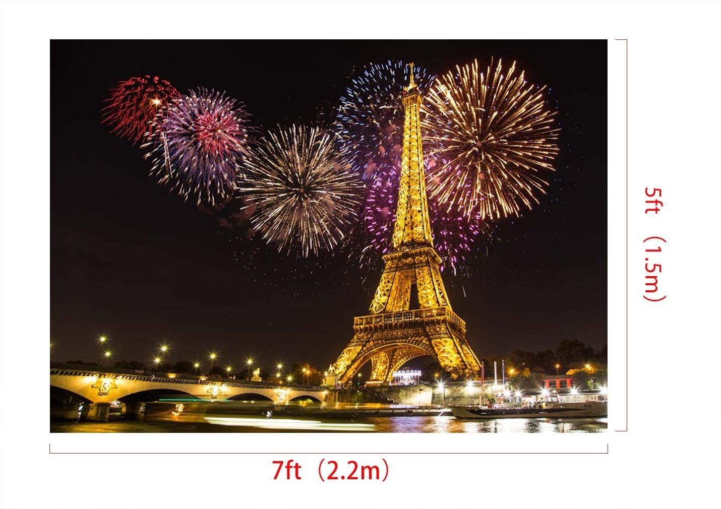 7x5ft Vinyl Night Paris Light Eiffel Tower Colorful Fireworks Wedding Decorations Photography Backdrop Seamless No Creases Folding and Washable Photo Booth Background