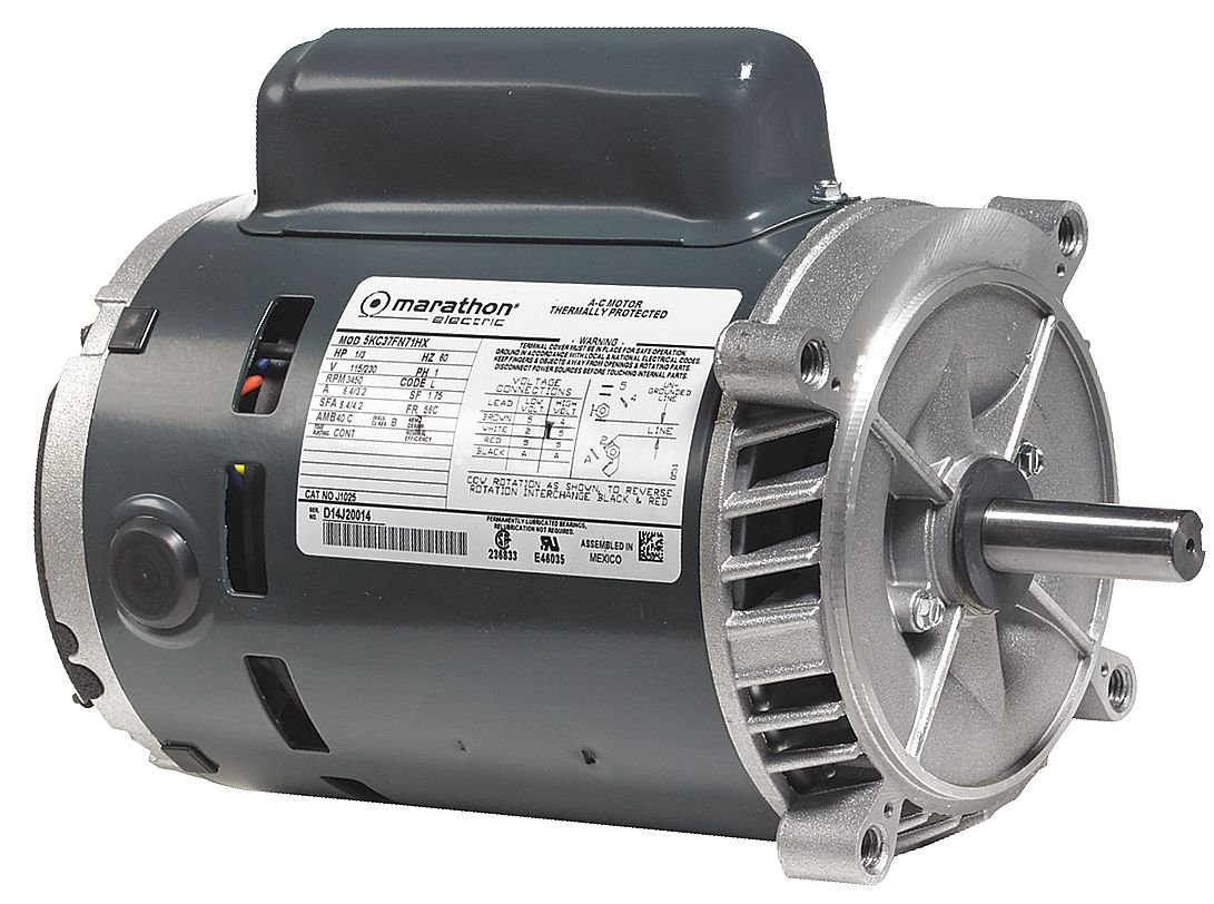 Marathon C336 56C Frame Open Drip Proof 5KC49NN2140X Oil Burner Motor, 1-1/2 hp, 3600 RPM, 115/208-230 VAC, 1 Phase, 1 Speed, Ball Bearing, Flange Mount, Capacitor Start