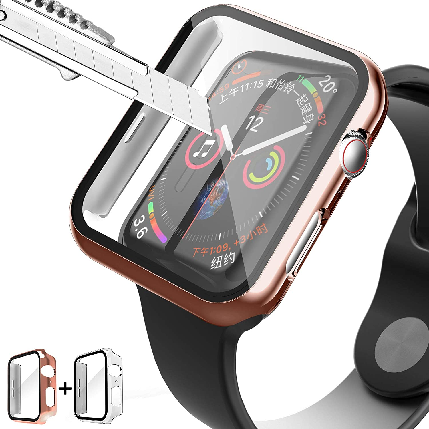 PROATL Full Cover Hard PC Case with 9H Tempered Glass Screen Protector Touch Sensitive iWatch Case Compatible with Apple Watch Series 3/2/1 38mm/42mm (2Packed, Clear+Rose Gold/ 42mm)