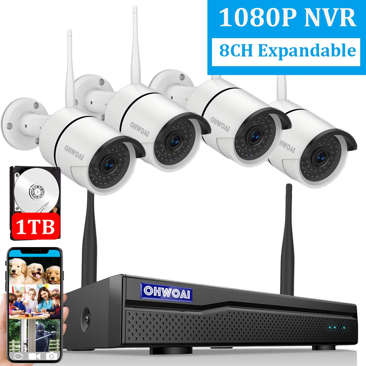 【2019 New 8CH Expandable】OHWOAI Security Camera System Wireless, 8CH 1080P NVR, 4Pcs 720P HD Outdoor/ Indoor IP Cameras,Home CCTV Surveillance System(1TB Hard Drive)Waterproof,Remote Access,Plug&Play