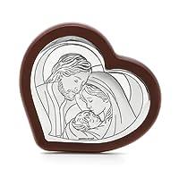 Icona Sacra famiglia in argento e legno, da 14X12 cm