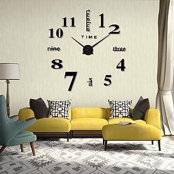 Ikalula DIY Wanduhr, 3D Wanduhren Modern Design Acryl Spiegel Metall Wanduhr  Rahmenlose Wandtattoo Clock Für