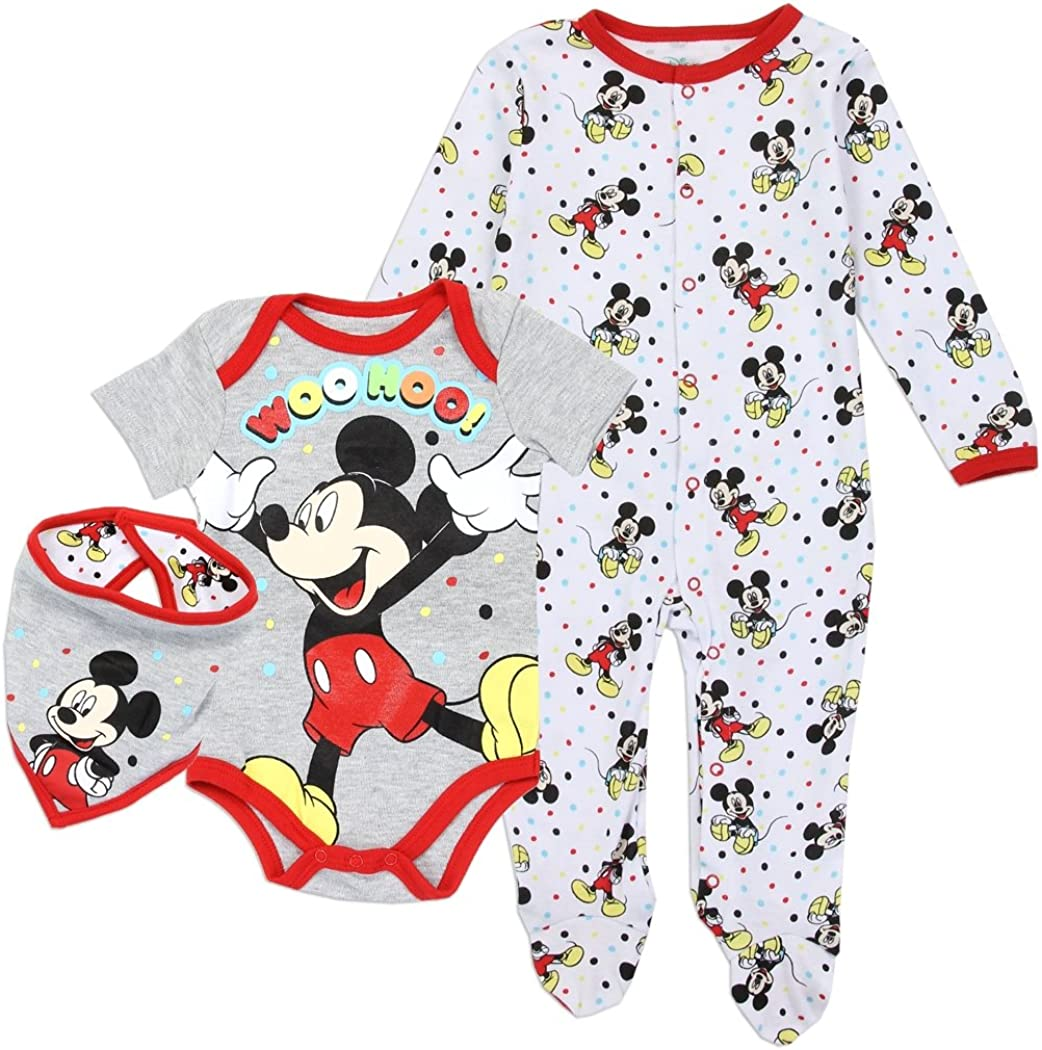 Red 3M Disney Kids Mickey Pant//Creeper Set