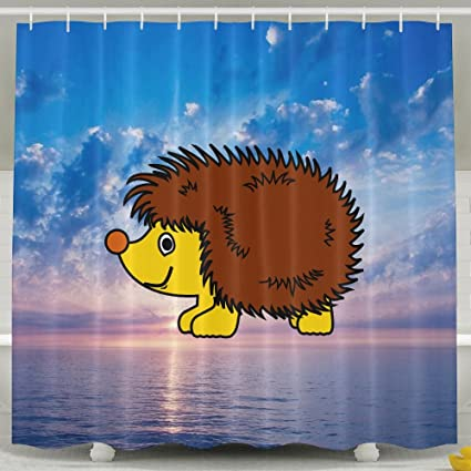 Hedgehog Bathroom Shower Curtain Waterproof Bath Decorations Decor Sets With Hooks