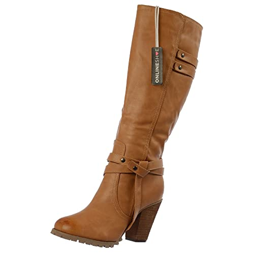 wholesale online better price largest selection of Onlineshoe Women's Ladies Tall Knee High Biker Boots with Straps and Heel