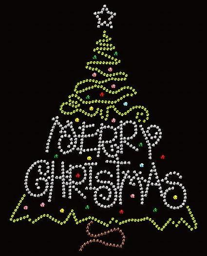 merry christmas tree rhinestone iron on transfers for t shirts