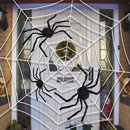 y stop giant spider web with three realistic looking hairy spiders outdoor halloween decorations