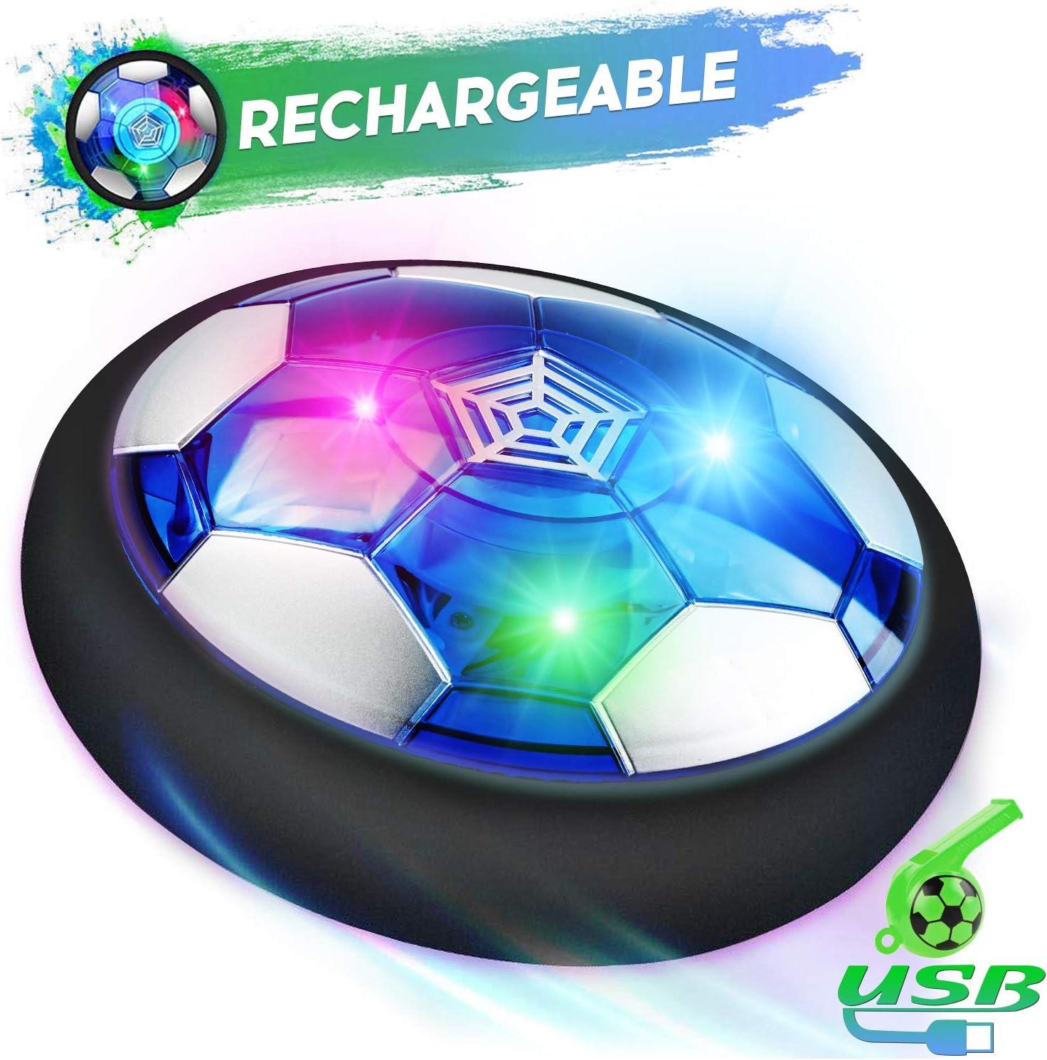 lenbest Air Football, Air Hover Ball Soccer, Juguetes Aire Fútbol con LED, Niños Air Power Soccer Juguetes Divertido para Interiores y Exteriores con Parachoques de Espuma Suave, Luces LED y Silbato