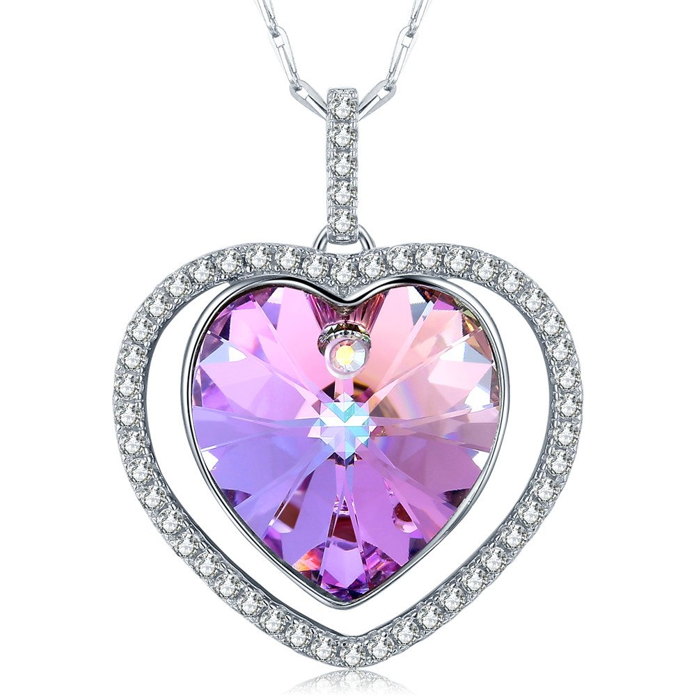 Sterling Silver Heart Pendant Necklace Made with Swarovski Crystal Jewelry Gifts for Women