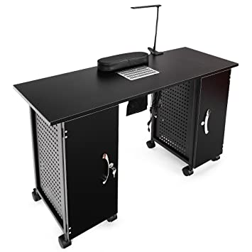 Amazon.com : Giantex Manicure Nail Table Station Black Steel Frame ...