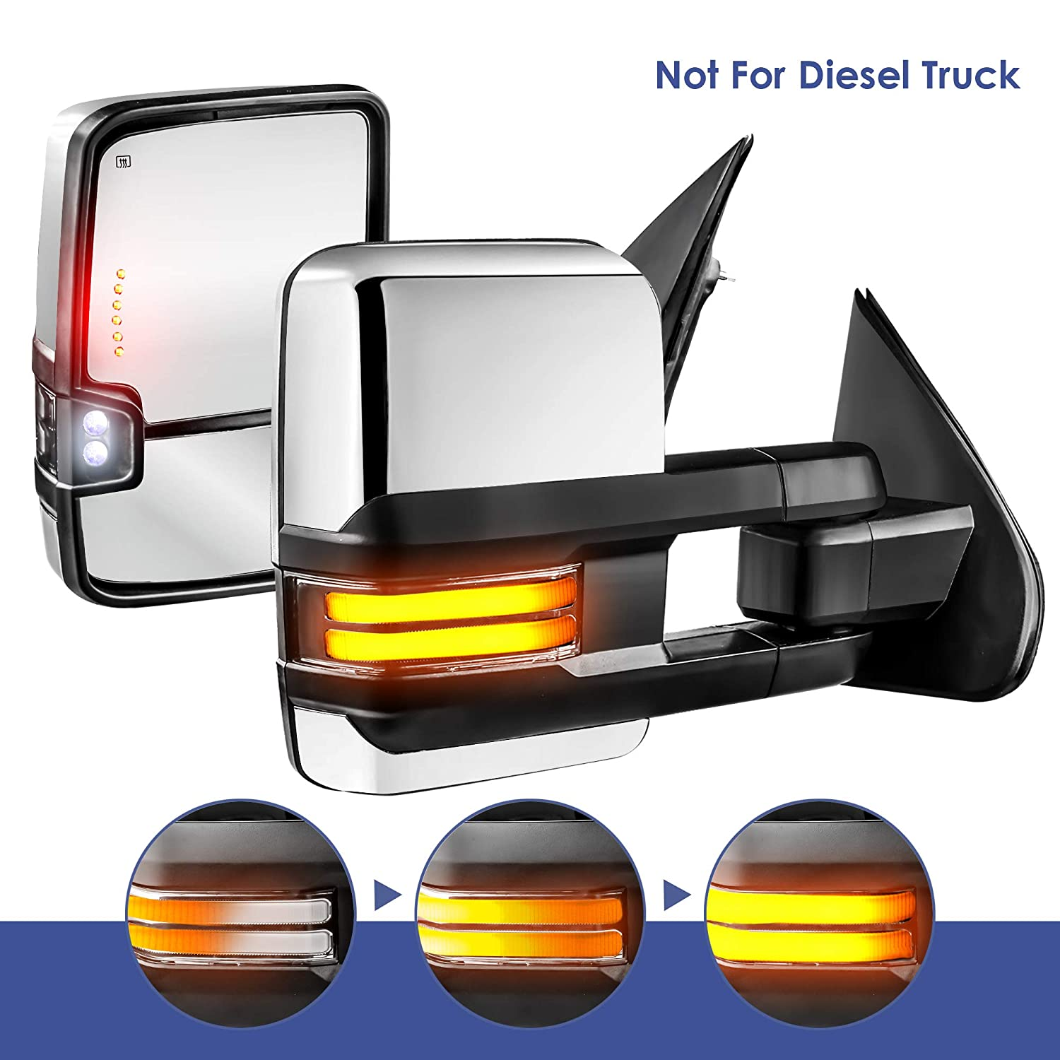 Running Light Not for Diesel Truck Set of 2 MOSTPLUS New Power Heated Towing Mirrors for Chevy Silverado GMC Serria 2014-2018 w//Sequential Turn light Clearance Lamp