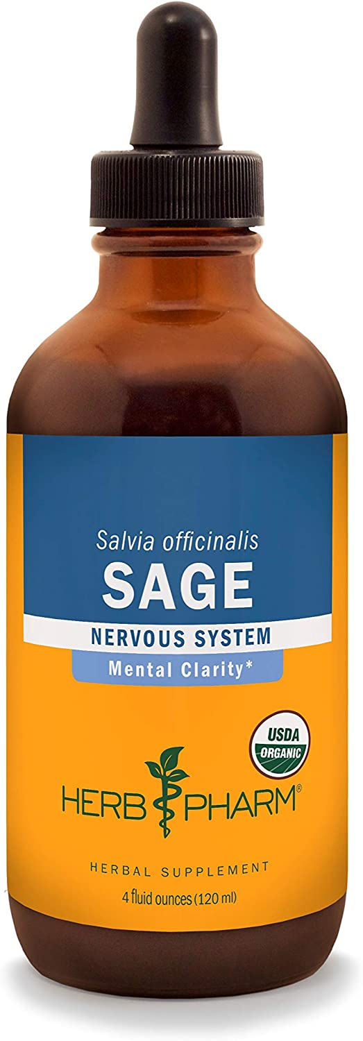 Herb Pharm Certified Organic Sage Liquid Extract for Mental Clarity Support – 4 Ounce