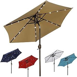 Blissun 7.5 ft Solar Umbrella 18 LED Lighted Patio Umbrella Table Market Umbrella with Tilt and Crank Outdoor Umbrella for Garden, Deck, Backyard, Pool and Beach, Tan