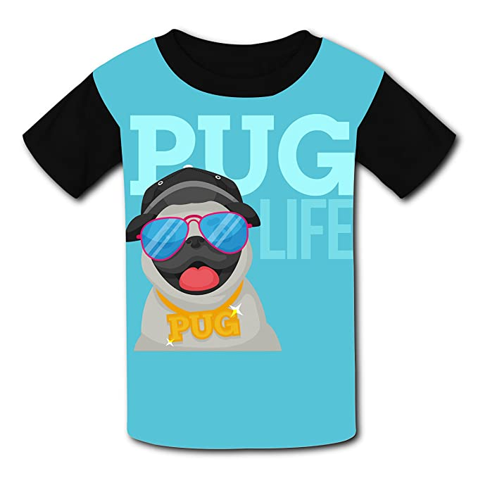 9c89695a656b Amazon.com: Cotton New Sports T-Shirts 3D Creating With Pug Life For Unisex  Kids: Clothing