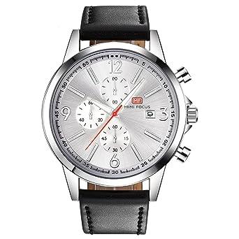 f982a19d55 MINI FOCUS カジュアル 腕時計 メンズ 革 ベルト シンプル クオーツ ストップウォッチ (ブラック シルバー)