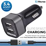 iVoltaa 3.4A Dual Port Rapid Car Charger with Free Braided Charging Cable (Micro USB) for all types of Mobiles,Tablets,GPS