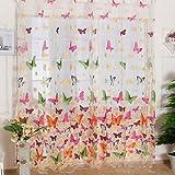 Gzq - Tende oscuranti, per finestre, Rod Pocket tende ricamato, con farfalla e fiore, decorativo per la casa, per soggiorno, camera delle bambine, multicolore, disponibile per 1 pannello, Poliestere, Multi, 140x270cm/55x106inch