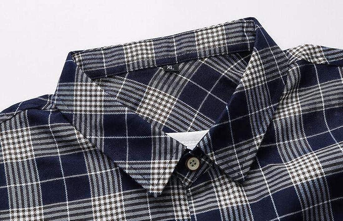 Hmarkt Men Casual Long Sleeve Regular Fit Striped Checked Flap Pockets Button Up Shirt