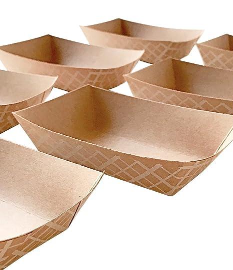 100 ct. 8 oz pequeño Eco Kraft alimentos bandejas bandeja de Mini parte bandeja de alimentos desechables; Hecho en EE. UU.: Amazon.es: Hogar