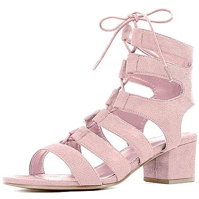 32c5f8751d53 Allegra K Damen offene Zehen Ausgeschnitten grobe Hacke Schnuerschuh  Sandalen US 5, Pink, 35.5