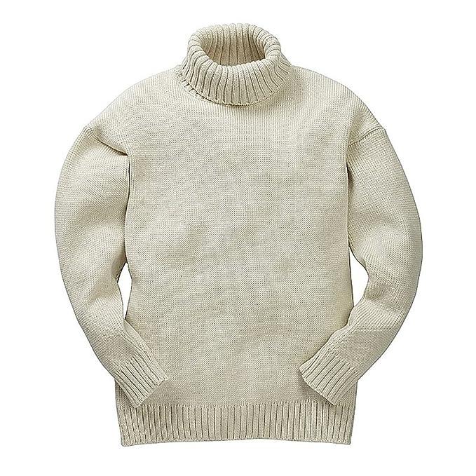 Maglione dolcevita da uomo in 100% lana merino, colore beige
