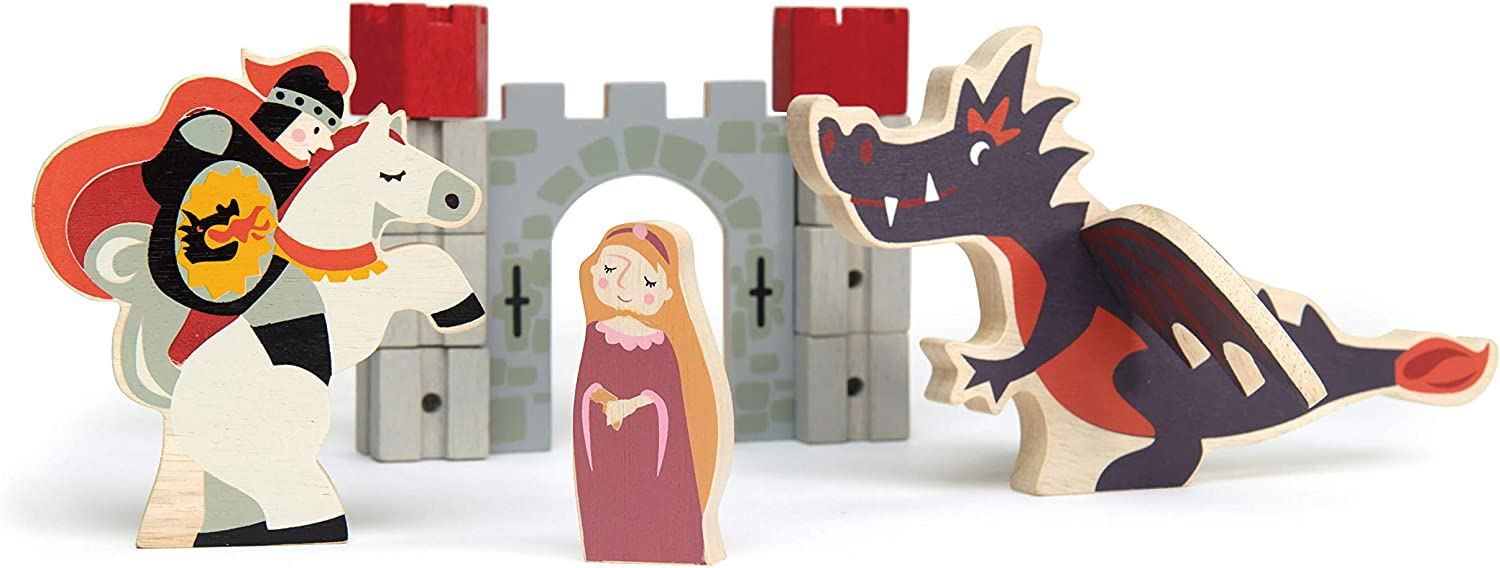 Tender Leaf Toys Knight and Dragon Tales – Wooden Medieval Castle Set for Toddlers - Social, Creative, and Imaginative Play – Ages 3 Years +